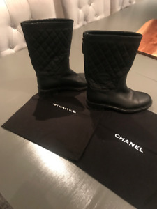 Chanel Quilted Mid-Calf Boot - Black - Women Size 38.5 (US 8)