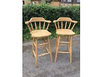 Solid pair of pine bar stools