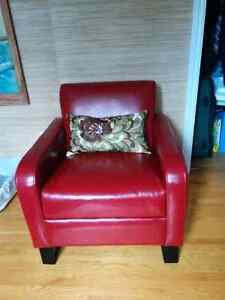 Mobillia red accent chair.