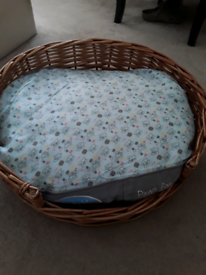 Round wicker pet bed and brand new cushion