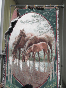 Horses:  Afghan throw blanket tapestry
