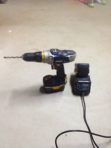 rona cordless hammer drill with charger and two batteries
