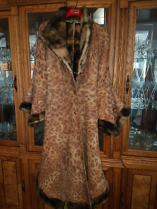 Beautiful women's size M Suede winter long coat with artificial