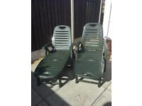 2x sunloungers with mats
