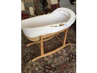 Moses basket with stand, mattress and fitted sheet