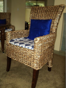 Set of 4 Woven Banana Leaf Dining Room Chairs