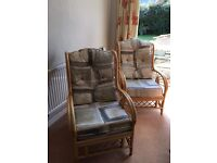 Two conservatory wicker chairs for sale