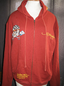 ED HARDY Christian Audiger Hollywood rhinestone hooded zip sweat