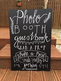 Photo booth wedding engagement party chalkboard sign vintage rustic shabby chic decor