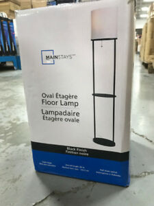 MainStays Black  Finish Shelf Floor Lamp with White Shade