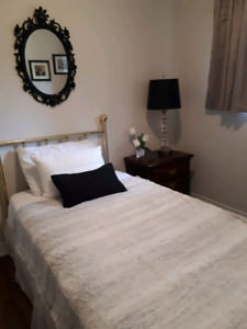 Single bed frame and brass headboard