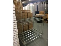Warehouse cage trolley on wheels