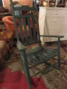 OLDER WOODEN ROCKING CHAIR PAINTED CHALK BLUE ASKING $75 OR BEST