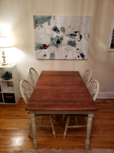 Solid wood dinner table + 4 chairs