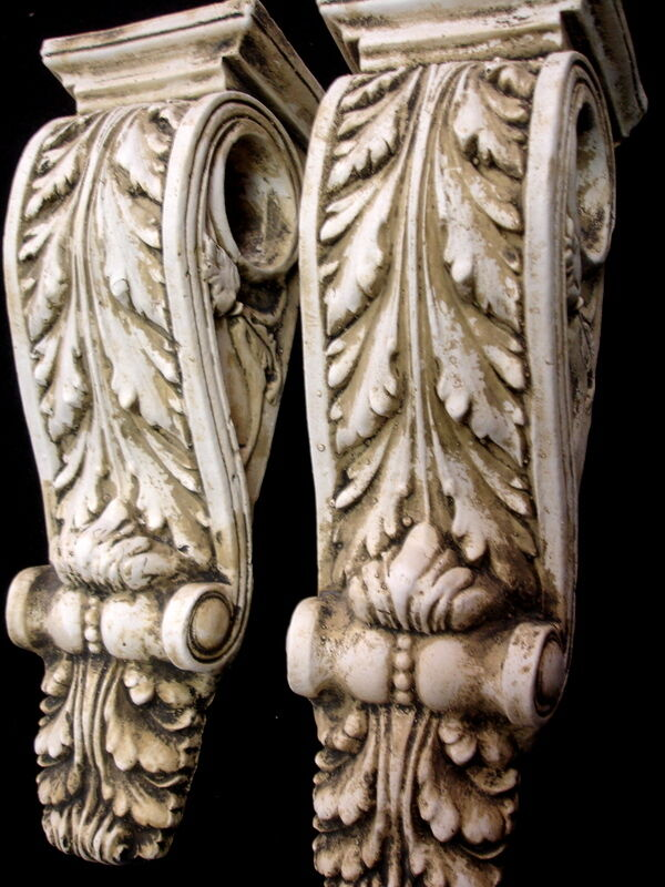 Antique finish shelf acanthus leaf wall corbel sconce for Acanthus decoration