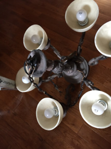 6 Lamp Metal and Glass Chandelier 120 Volt