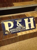 P & H Harnischfeger Porcelain Sign