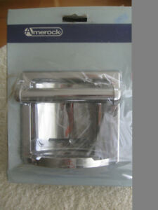 2 NEW POLISHED CHROME RECESSED TOILET-TISSUE HOLDERS