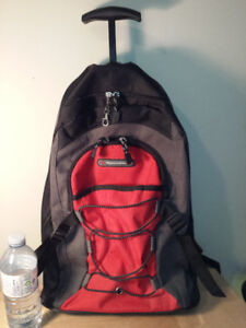 BACKPACK with WHEELS and EXTENDABLE PULL-HANDLE!