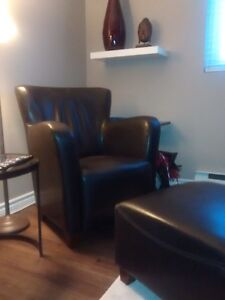 Chocolate brown chair and ottoman