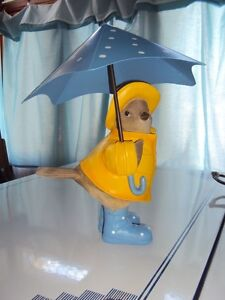 10 inch Robin statue wearing galoshes and raincoat (resin)