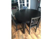 Black wooden dining table & 6 chairs