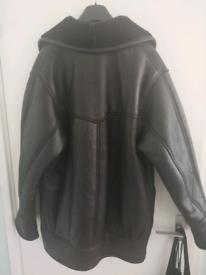 Mens genuine black leather coat