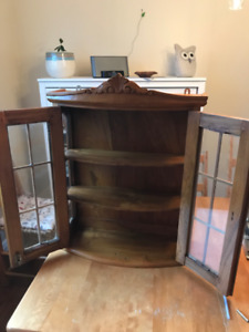 Wooden wall display cabinet with glass door, delivery possible
