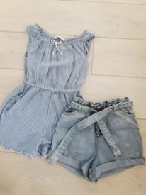 Short jumpsuit and denim shorts