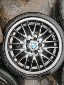 Bmw m sport mv1 grey alloy wheels rim with tyre spare staggered 18 in