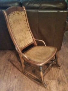 Antique Solid Wood with patterned wood inlay rocking chair