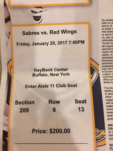 2 tickets to Red Wings vs Buffalo Sabres, Jan 20/17