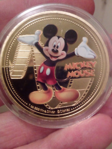 Large 40mm Disney Mickey Mouse Gold Plated Colored, Frosted Coin