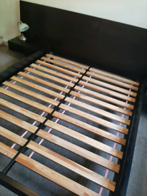 Italian designer King-size bedframe with floating bedside tables