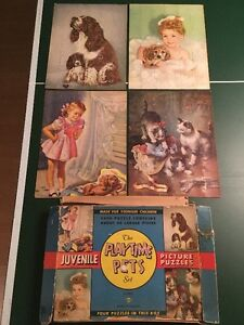 THE PLAYTIME PETS SET~ 4 JUVENILLE PICTURE PUZZLES