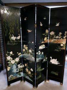 Chinese Art 4 Panel Room Divider Partition Screen