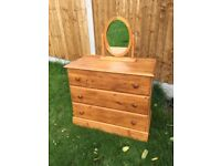 Pine chest of drawers and mirror