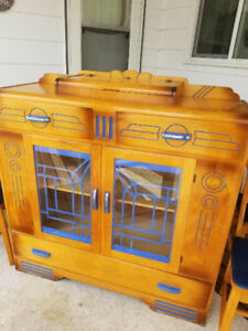 Antique Buffet Hutch, Table, 4 Chairs for Sale