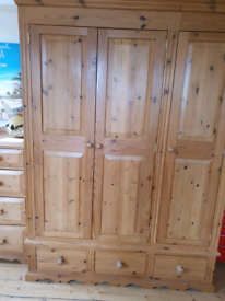 Triple Solid Pine Wardrobe