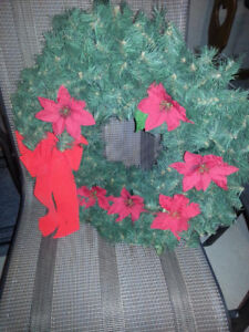 Christmas Wreaths, Lights, Ribbons