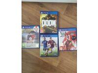 Ps4 games. Doom, FIFA 16 & 15 WWE 2k15