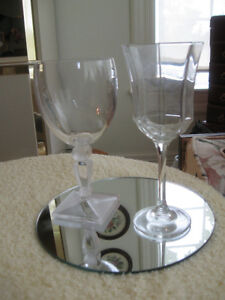 "TWO PIECES of CLASSY ""HIS & HER"" CLEAR-GLASS STEMWARE"
