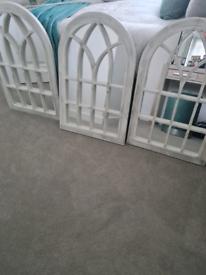 3 white window mirrors