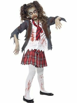 Girl's Dead Zombie School Girl Halloween Horror Fancy Dress Costume Kids Party