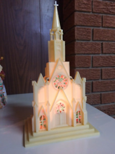 Christmas Church - Lights up - plays Silent Night - 1950's retro