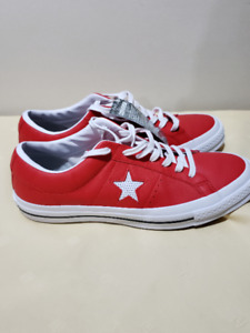 Converse One Star Ox Leather Shoes Red/White - Men 9 Women 11