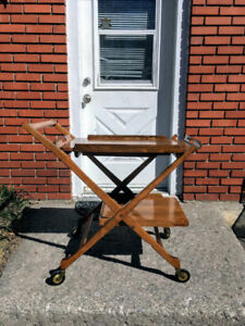 Desserte Mid-Century Folding Bar Tea  Lunch Cart Removable Tray