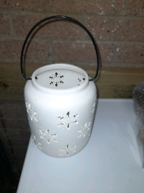 Brand new white candle holder
