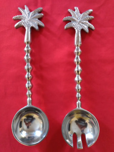 Decorative Tropical Palm Tree Serving Ladle Pair  Brand New!