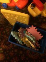 Little tikes waffle blocks, tote, people, 5 vehicles